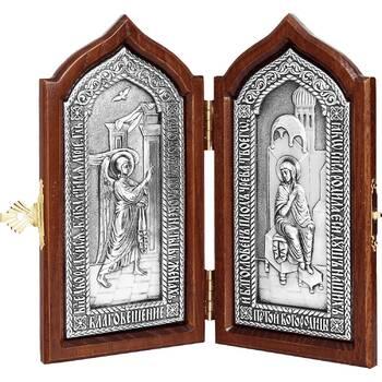 Икона (складень) Благовещение Пресвятой Богородицы в серебре и деревянной рамке (арт. 12240150)