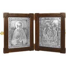 Икона (складень) Сергий Радонежский и Святая Троица в серебре и деревянной рамке (арт. 12240152)