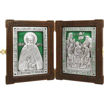 Икона (складень) Сергий Радонежский и Святая Троица в серебре с эмалью (арт. 12240153)