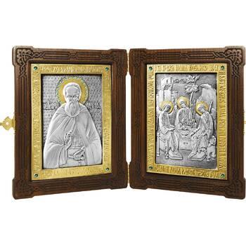Икона (складень) Сергий Радонежский и Святая Троица в серебре с позолотой (арт. 12240154)