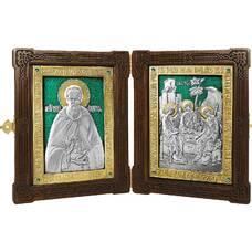 Икона (складень) Сергий Радонежский и Святая Троица в серебре с эмалью и позолотой (арт. 12240155)