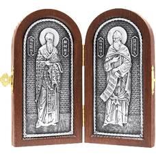Икона (Складень) Кирилл и Мефодий в серебре и деревянной рамкой (арт. 12240156)