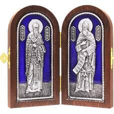 Икона (Складень) Кирилл и Мефодий в серебре с эмалью и деревянной рамкой (арт. 12240157)