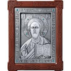 Икона Господь Вседержитель в серебре и деревянной рамке (арт. 12240160)