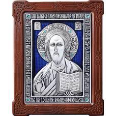 Икона Господь Вседержитель в серебре с эмалью и деревянной рамке (арт. 12240161)