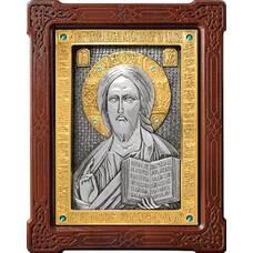 Икона Господь Вседержитель в серебре с позолотой и деревянной рамке (арт. 12240162)