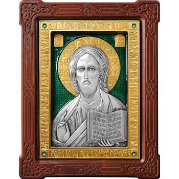 Икона Господь Вседержитель в серебре с эмалью и позолотой (арт. 12240163)