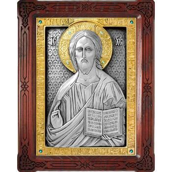 Икона Господь Вседержитель в серебре с позолотой и деревянной рамке (арт. 12240165)