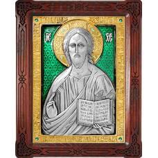 Икона Господь Вседержитель в серебре с эмалью и позолотой (арт. 12240166)
