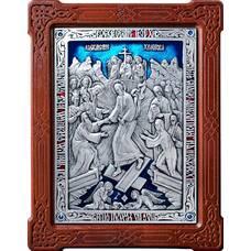 Икона Воскресение Христово в серебре с эмалью и деревянной рамке (арт. 12240168)
