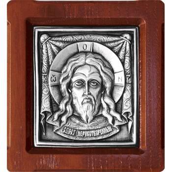 Икона Спас Нерукотворный в серебре и деревянной рамке (арт. 12240169)