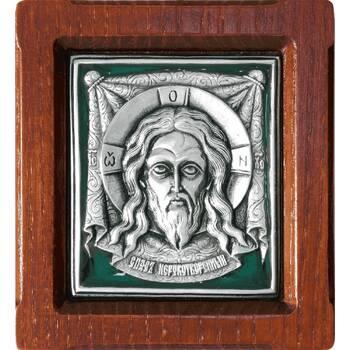 Икона Спас Нерукотворный в серебре с эмалью и деревянной рамке (арт. 12240170)