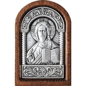 Икона Господь Вседержитель в серебре и деревянной рамке (арт. 12240171)