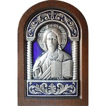 Икона Господь Вседержитель в серебре с эмалью и деревянной рамке (арт. 12240172)