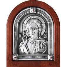 Икона Господь Вседержитель в серебре и деревянной рамке (арт. 12240173)