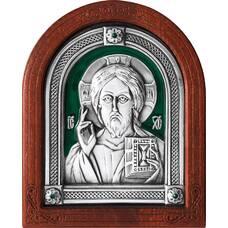 Икона Господь Вседержитель в серебре с эмалью и деревянной рамке (арт. 12240174)
