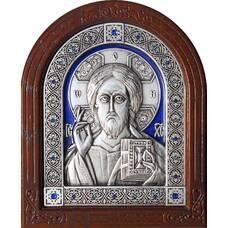 Икона Господь Вседержитель в серебре с эмалью и деревянной рамке (арт. 12240176)
