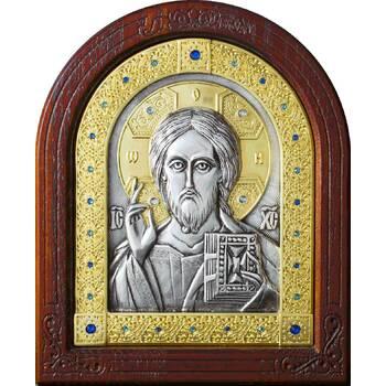Икона Господь Вседержитель в серебре с позолотой и деревянной рамке (арт. 12240177)