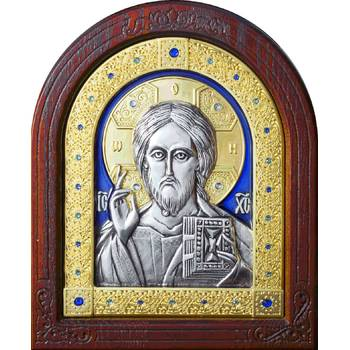 Икона Господь Вседержитель в серебре с эмалью и позолотой (арт. 12240178)