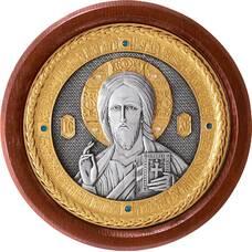 Икона Господь Вседержитель в серебре с позолотой и деревянной рамке (арт. 12240180)