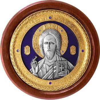 Икона Господь Вседержитель в серебре с эмалью и позолотой (арт. 12240181)
