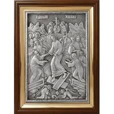 Икона Воскресение Христово в серебре и деревянной рамке (арт. 12240182)