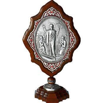 Икона Воскресение Христово в серебре и деревянной рамке (арт. 12240183)