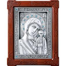 Казанская икона Божией Матери в серебре и деревянной рамке 12240184