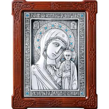 Казанская икона Божией Матери в серебре и деревянной рамке (арт. 12240184)