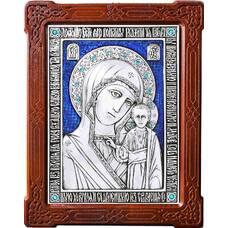 Казанская икона Божией Матери в серебре с эмалью и деревянной рамке (арт. 12240185)