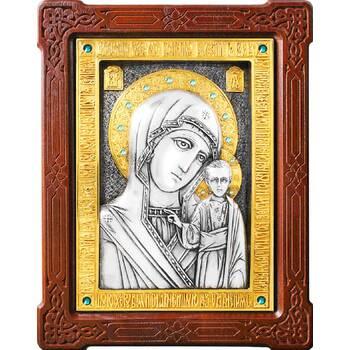 Казанская икона Божией Матери в серебре с позолотой и деревянной рамке (арт. 12240186)