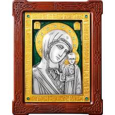 Казанская икона Божией Матери в серебре с позолотой и эмалью 12240187