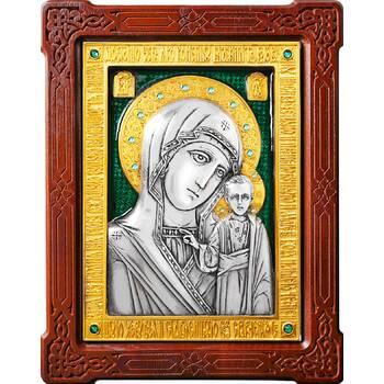 Казанская икона Божией Матери в серебре с позолотой и эмалью (арт. 12240187)