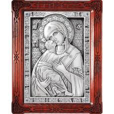 Владимирская икона Божией Матери в серебре и в деревянной рамке (арт. 12240188)