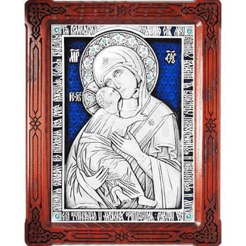 Владимирская икона Божией Матери в серебре с эмалью и в деревянной рамке (арт. 12240189)