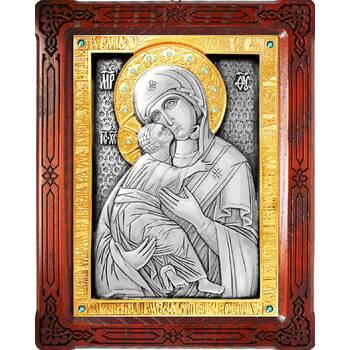 Владимирская икона Божией Матери в серебре с позолотой и деревянном окладе (арт. 12240190)