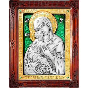 Владимирская икона Божией Матери в серебре с позолотой и эмалью (арт. 12240191)