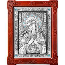Семистрельная икона Божией Матери в серебре и деревянной рамке 12240192