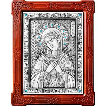 Семистрельная икона Божией Матери в серебре и деревянной рамке (арт. 12240192)
