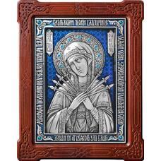 Семистрельная икона Божией Матери в серебре с эмалью и деревянной рамке 12240193