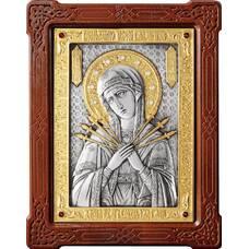 Семистрельная икона Божией Матери в серебре с позолотой и деревянной рамке 12240194