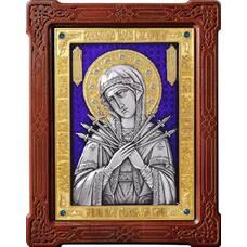 Семистрельная икона Божией Матери в серебре с эмалью и позолотой 12240195