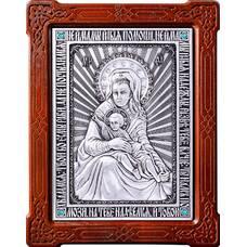 Икона Божией Матери Милостивая (Зачатьевский монастырь Москва) в серебре и деревянной рамке (арт. 12240196)