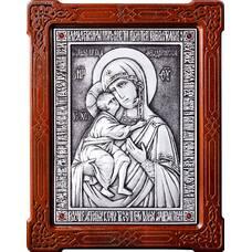 Федоровская икона Божией Матери в серебре и деревянной рамке (арт. 12240198)