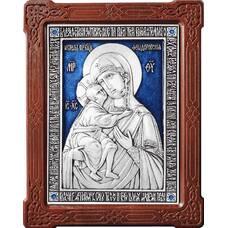 Федоровская икона Божией Матери в серебре с эмалью и деревянной рамке (арт. 12240199)