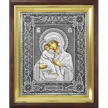 Владимирская икона Божией матери в ризе и деревянном киоте (арт. 122402)