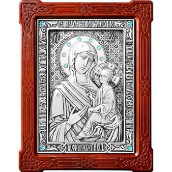 Тихвинская икона Божией Матери в серебре и деревянной рамке (арт. 12240200)