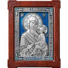 Тихвинская икона Божией Матери в серебре с эмалью и деревянной рамке 12240201