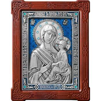 Тихвинская икона Божией Матери в серебре с эмалью и деревянной рамке (арт. 12240201)