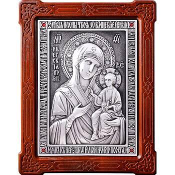 Иверская икона Божией Матери в серебре и деревянной рамке (арт. 12240202)